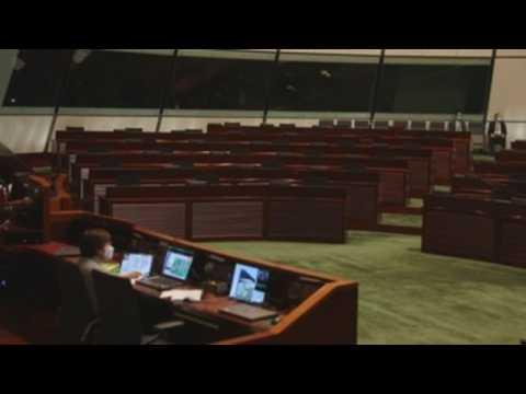 Empty seats at Hong Kong Legislative Council after ousting of pan-democratic lawmakers