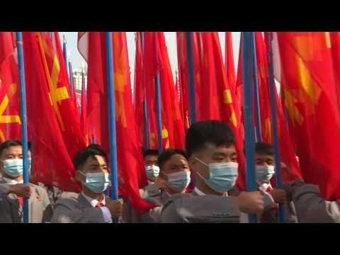 North Korea holds masked mega-rally in Pyongyang