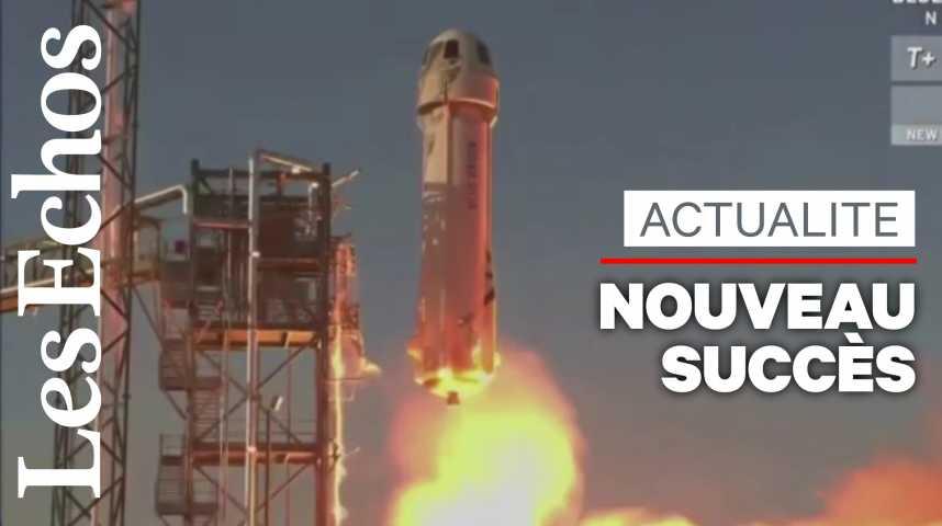 Illustration pour la vidéo Nouveau vol d'essai réussi pour la fusée de tourisme spatial de Jeff Bezos