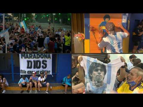 Football fans mourn Maradona