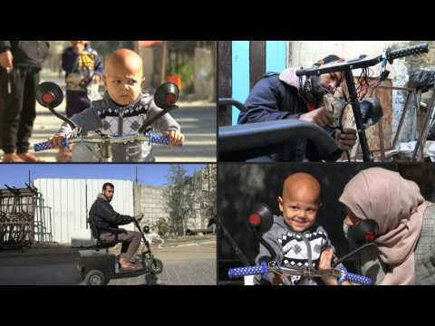 Palestinian man brings joy to sick with mobility scooters