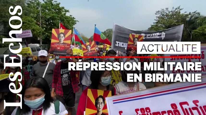Illustration pour la vidéo La répression militaire fait une première victime en Birmanie