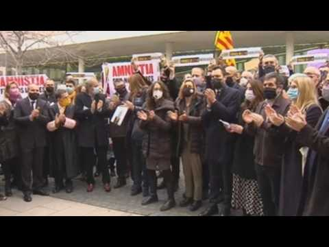 Pro-independence parties rally in support of the members of Catalonia's Electoral Syndicate