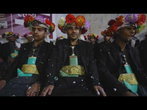 Wedding of visually impaired bride and groom in Yemen