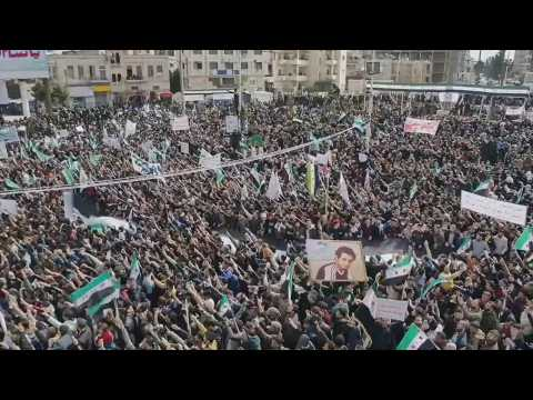 Idlib protesters mark 10 years of war in Syria