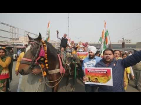 Congress party members protest against central government in northern India
