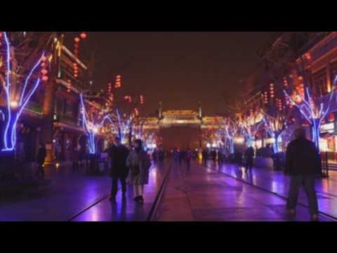 Streets in Beijing lightened up on eve of Lunar New Year