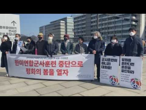 South Koreans stage rally against joint South Korea-US military drills