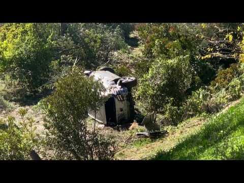 Scene of Tiger Woods' roll-over car crash in California