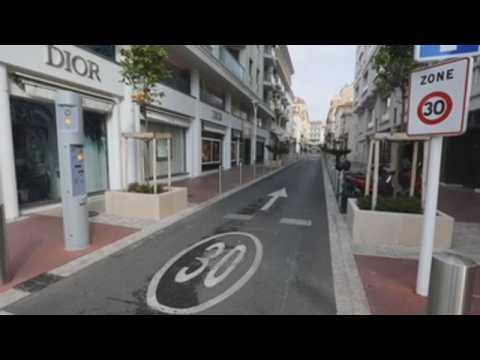 Empty streets in Cannes amid weekend lockdown