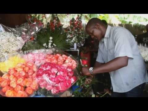 Sale of flowers in Abidjan ahead of Valentine's