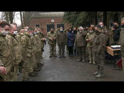 Ukrainian president Zelensky visits frontline as two soldiers are killed