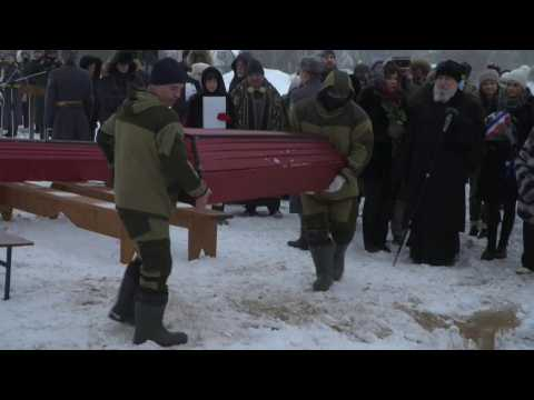Russian and French troops buried in Russia 200 years after Napoleon defeat
