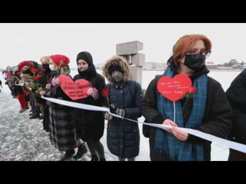 Russian feminists show support for Navalny in St Petersburg