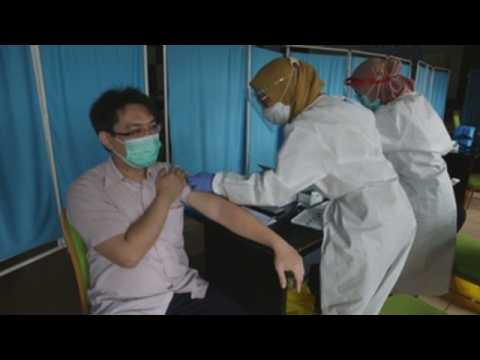 Healthcare workers vaccinated against COVID-19 in Indonesia