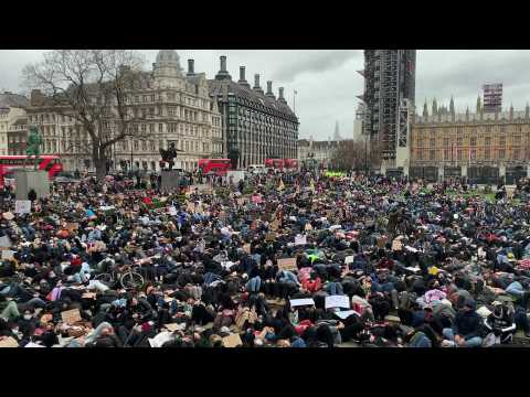 Protesters stage die-in in Parliament square following police crackdown on Sarah Everard vigil
