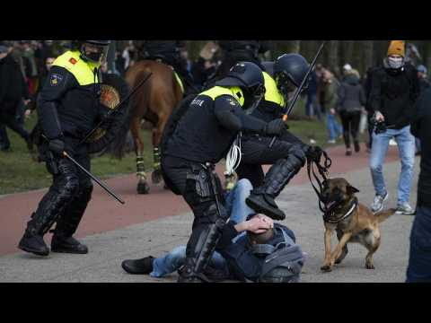 Dutch police break up anti-government protest ahead of election
