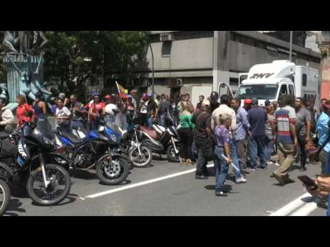 Venezuela pro-government supporters flood the streets of Caracas