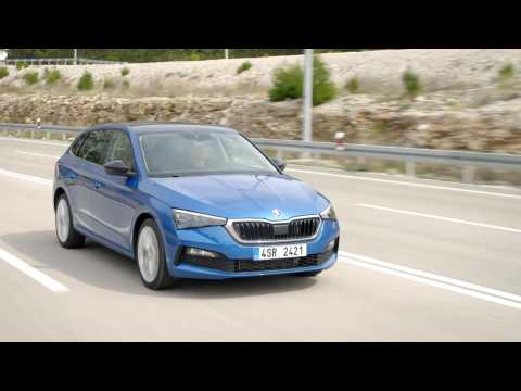 The new Skoda Scala in Blue Driving Video