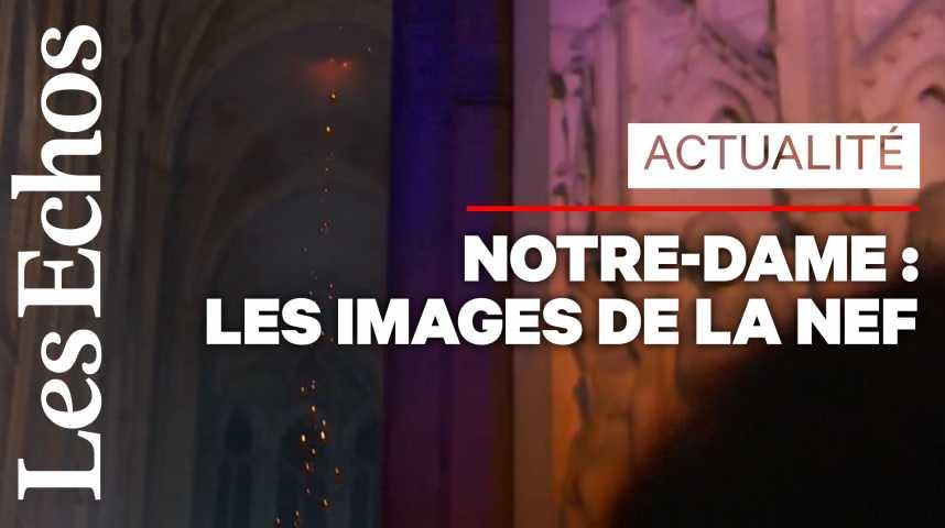 Illustration pour la vidéo Les premières images de l'intérieur de Notre-Dame après l'incendie