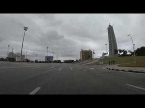 Famous Plaza de la Revolucion in Havana seen deserted on May Day