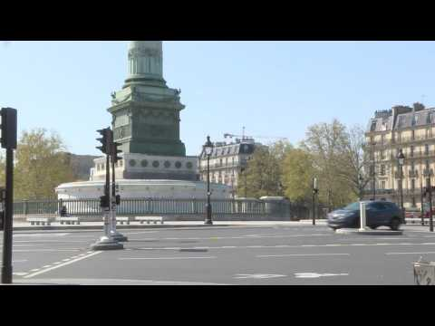 Coronavirus: Paris's Place de la Bastille near-empty on day 24 of lockdown