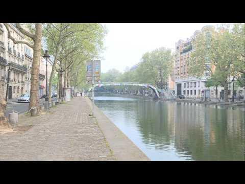 Coronavirus: Paris' Saint-Martin canal deserted on lockdown day 28