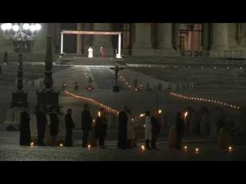 Pope Francis leads Good Friday Via Crucis in empty square due to lockdown