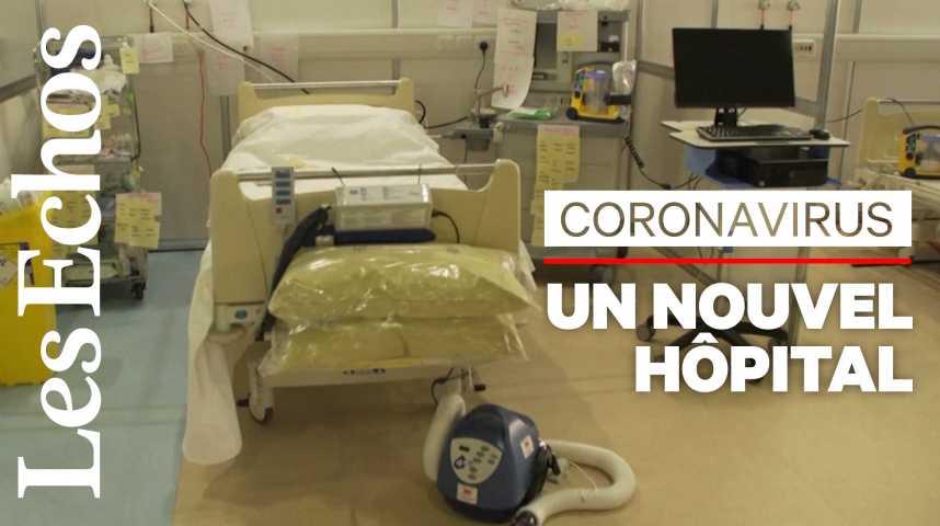 Illustration pour la vidéo A Londres, un palais des congrès transformé en hôpital