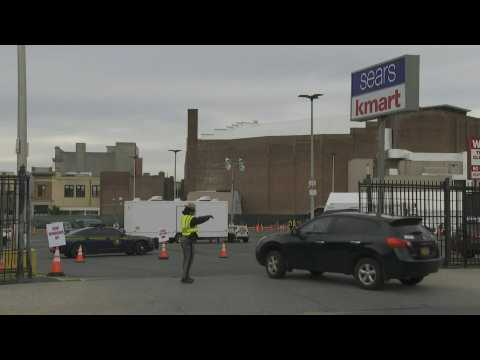 People arrive for testing at drive-through Covid-19 facility in minority area in Brooklyn