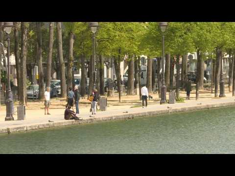 Paris's Ourcq canal virtually deserted on 33rd day of French lockdown