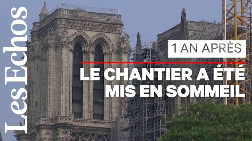 Illustration pour la vidéo Notre-Dame sera reconstruite en 5 ans, réaffirme Emmanuel Macron