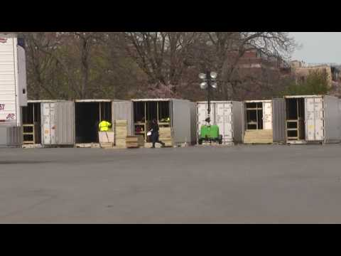 Refrigerated trailers and shipping containers are turned into temporary morgues in NYC