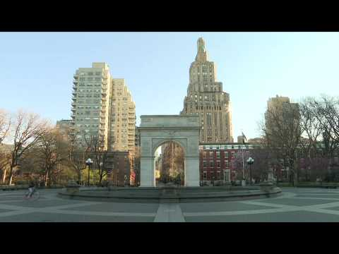 New York's Washington Square Park deserted amid stay-at-home order