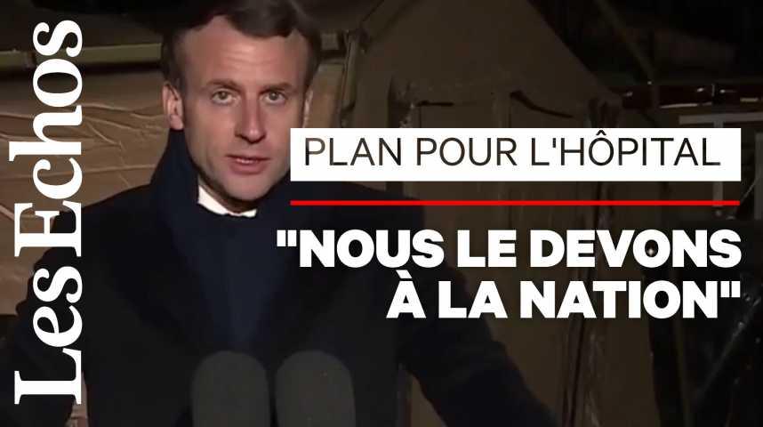 Illustration pour la vidéo Emmanuel Macron promet un plan «massif» pour l'hôpital