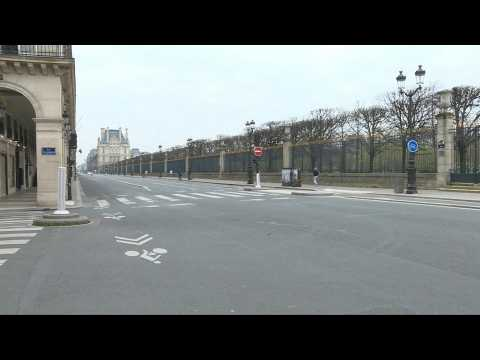 Paris's Louvre area almost deserted amid virus lockdown
