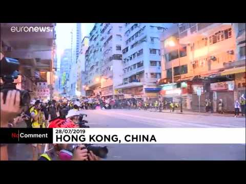 Another night of stand-offs and clashes between protesters and police in Hong Kong