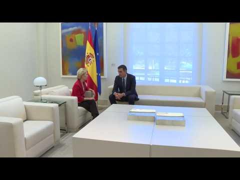 Spanish PM Pedro Sanchez meets EU's Ursula Von der Leyen in Madrid