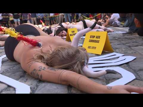 Animal welfare activists protest against bullfighting in Pamplona