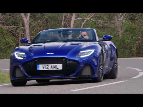 Aston Martin DBS Superleggera Volante in Zaffre Blue Driving Video