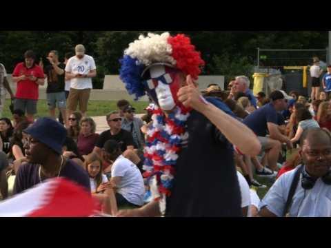 Football fans arrive in fan zone ahead of France-USA