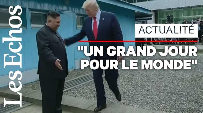 Illustration pour la vidéo La télévision d'Etat nord-coréenne emballée par la rencontre Donald Trump - Kim Jong-Un