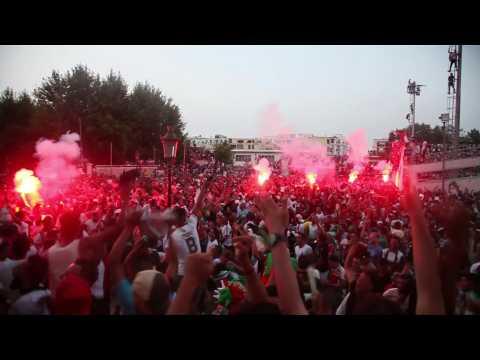 Fans celebrate Algeria's first goal in Algiers