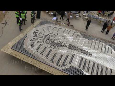 A giant Tutankhamun mask made with coffee cups sets world record