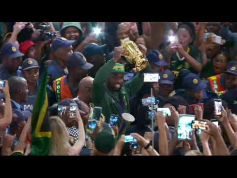 Springboks' Kolisi lifts Rugby World Cup trophy in Johannesburg