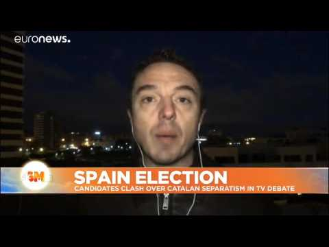 Spain's election candidates clash over Catalonia in television debate
