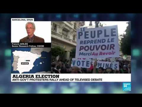 Algeria election : protesters rally ahead of televised debate