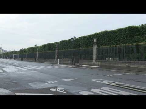 Rue de Rivoli in Paris is almost deserted as the French capital enters day 50 of lockdown