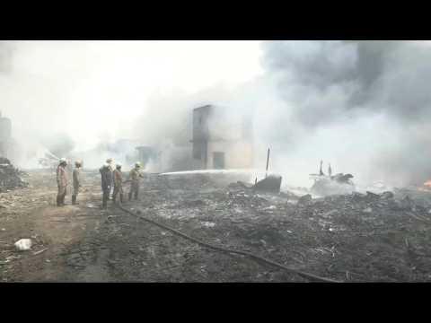 Firefighters tackle huge blaze at warehouse in Delhi