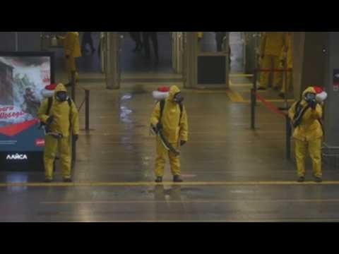 Moscow disinfects train stations